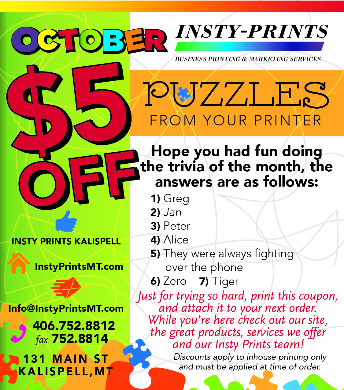 October 2017 Trivia Question Coupon
